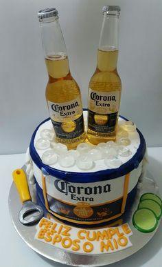 Torta cerveza corona Beer Birthday Party, Dad Birthday Cakes, Man Birthday, Birthday Celebration, Festa Jack Daniels, Corona Cake, Liquor Cake, Alcohol Cake, Birthday Gifts For Boyfriend Diy