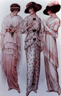 10. 1910 Day Dress: The day dress of this time had the same silhouette as the evening dress. Made of soft flowing fabrics, but the dress was more conservative and had a higher neckline.