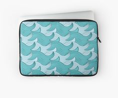 California Surf Wave Pattern Illustration by Gordon White | Heather Grey California Surf Macbook Pro 15 Laptop Sleeve Available in 3 Sizes @redbubble --------------------------- #redbubble #stickers #california #losangeles #la #surf #wave #cute #adorable #pattern #laptop #sleeve #macbook