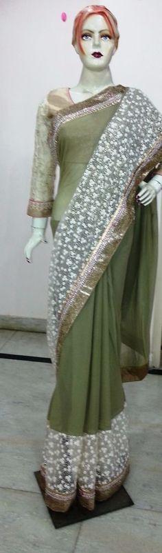 Indian Ethnic Beautiful Traditional Bollywood style bridal embroidered new sari #sghub #SariSaree