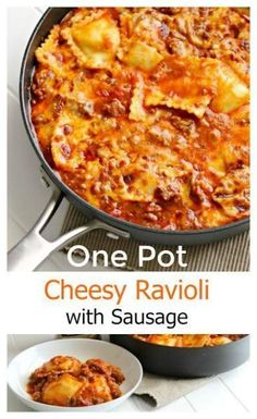One Pot Cheesy Ravioli with Sausage Make dinner a snap with a one pot pasta dish! Easy, cheesy ravioli with sausage is ready in 15 minutes adMake dinner a snap with a one pot pasta dish! Easy, cheesy ravioli with sausage is ready in 15 minutes ad One Pot Dinners, Easy One Pot Meals, One Pan Meals, Quick Meals, Weeknight Dinners, Quick Recipes, Easy Pasta Dishes, One Pot Pasta, Food Dishes