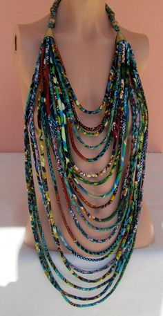 Multi strand fabric necklace/OOAK African fashion door nad205, $180.00