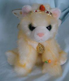 "10"" Aurora Yellow Cat Plush Solana Catapillers Jewelry Crown Green Eyes Stuffed #Aurora #CatapillerCat"