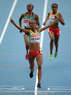 Meseret Defar of Ethiopia crosses the line to win gold in the Women's 5000 metres final during Day Eight of the 14th IAAF World Athletics Championships Moscow 2013 at Luzhniki Stadium on August 17, 2013 in Moscow, Russia. (Photo by Christian Petersen/Getty Images)