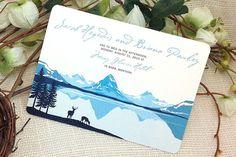 Glacier Valley Montana 5x7 Wedding Invitation // mountain landscape event invites: Get Started Deposit or DIY Payment