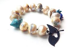 Chunky pearl bracelet rustic freshwater pearls hand by songbead. £30.00, via Etsy.