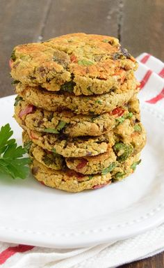 Homemade healthy veggie burgers - full of veggies! Vegan, gluten free low fat veggie burger recipe is so easy to make!