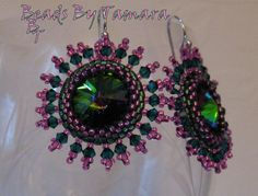 Swarovski Rivoli Earrings Peyote Stitch Bezel by BeadsByTamara,