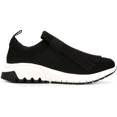 Neil Barrett Fringed Running Sneakers (€390) ❤ liked on Polyvore featuring shoes, sneakers, black, black trainers, neil barrett shoes, neil barrett sneakers, black fringe shoes and neil barrett