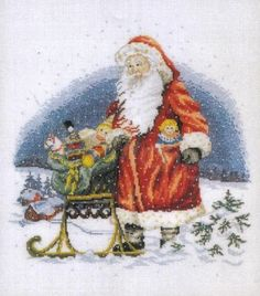 DANISH CROSS STITCH OEHLENSCHLAGER OOE DESIGN SANTA WITH TOYS CHART