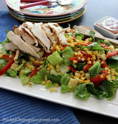 Grilled Chicken Salad with Corn & Peppers
