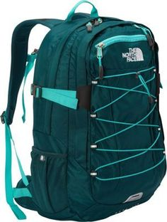 The North Face Women's Borealis Laptop Backpack Deep Teal Blue/Ion Blue - via eBags.com! This is my overnight to up to 2 weeks bag (plus yoga mat!).  Has a spot for your notebook, iPad, and lots of compartments.  Strap has a safety whistle.  2 pounds, 6 ounces.  Comfortable, made for women.