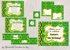 Digital Reptile Birthday Invitation with by spencervillejunction, $20.00 - includes a personalized invitation, thank you card and welcome sign.  Also has printable buffet cards, circles or tags and water bottle labels (use them as napkin rings too!)  Great for a snake or lizard themed birthday party for boys or girls.