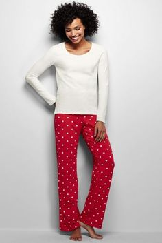 Women's Knit Sleep Set from Lands' End - in ivory/patriot blue stripe or bright scarlet dots - size small