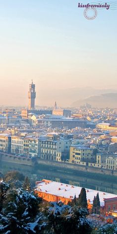 Beautiful panorama of Florence snow covered in winter