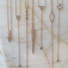 Delicate rose gold EFC necklaces. Xo, EF