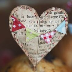 Paper #Heart links only to photo, but great idea for vintage paper and ornaments etc.