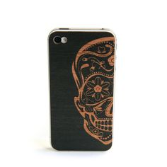 "Image of iphone wood cover Artist Series ""Sugarskull"" black $30"