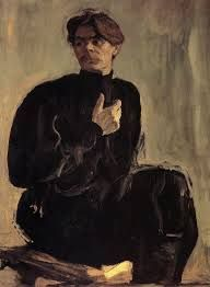 Valentin Serov. Maxim Gorky.   The energetic movement reminds tortured figures of late Michelangelo, rather than charming static figures of Sargent.