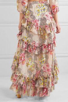 Philosophy di Lorenzo Serafini - Tiered Ruffled Floral-print Cotton And Silk-blend Maxi Skirt - Beige - IT