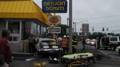 Driver struck up to 8 cars before crashing into doughnut shop in Yorkville. READ MORE: http://www.uticaod.com/features/x853677965/Injuries-reported-when-vehicle-crashes-into-Daylight-Donuts#axzz2XRvOn5Ts