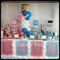 Gender Reveal Baby Shower Sweets Table
