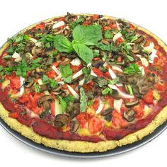 This pizza is a full meal deal, alive with the flavor of tender barbecued chicken chunks, mushrooms, and onions. Everybody knows that a great pizza needs Paleo Pizza, Almond Recipes, Paleo Recipes, Pizza Recipes, Free Recipes, No Yeast Pizza Dough, Chicken Chunks, Savory Herb, Vegan Mozzarella