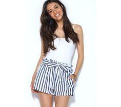 Šortky s prúžkami a opaskom na zaviazanie | modino.sk #ModinoSK #modino_sk #modino_style #style #fashion #summer #shorts Boho Shorts, Short Dresses, Blue Outfits, Rompers, Women, Fashion, Short Frocks, Moda, Blue Suits