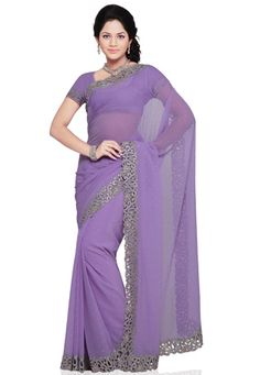 Lavender Faux Chiffon Saree With Blouse Chiffon Saree, Blouse Online, Sarees, Lavender, Stuff To Buy, Wedding, Outfits, Shopping, Fashion