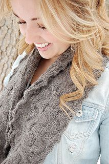 The perfect fall accessory! Pattern features instructions for both a cowl and infinity scarf. Deceptively easy, with lots of stockinette knitting in between a few cable rows. This one will fly off the needles!