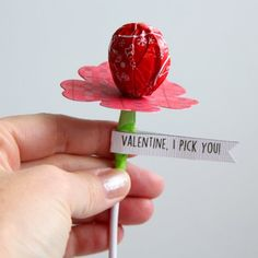 "Inexpensive to mass produce assembly line style treat. Free printable for 30+ tags to one sheet of paper. ""Valentine, I Pick You"" tutorial."