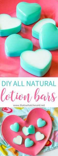 Get soft skin this Valentine's Day with these Valentine DIY Lotion Bars.  Natural ingredients leave skin smooth & nourished in these cute heart containers!  via @cspangenberg