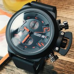 Buy it before it ends. There is always many products on sae upto - MEGIR Men's Casual Quartz Watch Engraved Dial Black Silicone watches men Waterproof Military Sport Watch for Man - Fast Mart Army Watches, Seiko Watches, Sport Watches, Casual Watches, Cool Watches, Watches For Men, Elegant Watches, Stylish Watches, Popular Watches