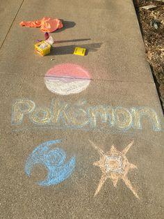 Pokémon Sun and Moon chalk.