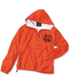 Orange Monogrammed Personalized Rain Jacket Pullover - 11 colors on Etsy, $39.00