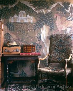 Detail of the painted cloth wall hangings in the Great Chamber which were a cheaper substitute for tapestry in Tudor times, Owlpen Manor.