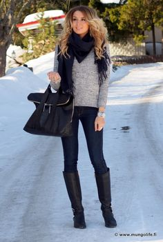 Skinny jeans and boots paired with pretty much anything is one of my favs