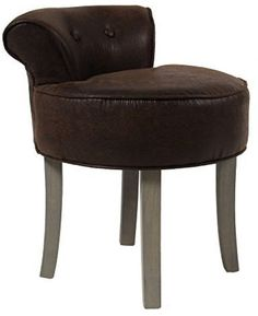 Vanity Stool - AGED LEATHER Look - Colour BROWN