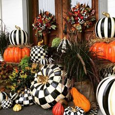 Black and white fall decor by Mackenzie Childs White Pumpkins, Painted Pumpkins, Fall Pumpkins, Mackenzie Childs Inspired, Pumpkin Display, Mckenzie And Childs, Pumpkin Flower, Pumpkin Topiary, Autumn Decorating