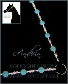 Elegant yet vibrant, Anduin features delicate silver accents and beautiful polished turquoise on a black base. Each of the silver-toned pieces features a twinkling crystal, which perfectly complement the luxurious black velvet base. A really lovely design in a fabulous colour combination, it should look spectacular on a horse of any colour.