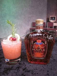 WINTER MAPLE SMASH    2 oz  Crown Royal Maple Whisky  1/2 oz Simple Syrup  1 sprig fresh Rosemary  8 cranberries  Half lemon    Muddle lemon, cranberries, rosemary and simple. Add Crown Maple and shake well.  Strain over fresh ice and garnish with rosemary sprig, 3 cranberries and lemon wheel.