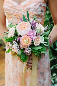 pastel toned bouquet - photo by M2 Photography http://ruffledblog.com/dinner-party-wedding-at-brooklyn-winery #weddingbouquet #bouquets