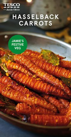 """Jamie Oliver's hasselback carrots Jamie Oliver says, """"Supercharged with honey, garlic and bay, these caramelised hasselbacks are not your everyday. Carrot Recipes, Side Recipes, Grilling Recipes, Vegetable Recipes, Vegetarian Recipes, Cooking Recipes, Grilled Shrimp Recipes, Tesco Real Food, Brunch"""