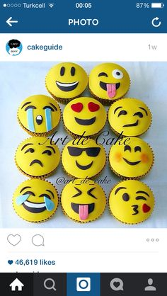 You can read my disclosure policy here . I hope you enjoy these amazing EMOJI CAKE ideas. Mini Cakes, Cupcake Cakes, Kid Cupcakes, Cupcake Toppers, Bolo Fondant, Fondant Cakes, Cakepops, Emoji Cake, 10th Birthday Parties