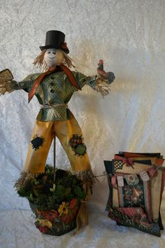 annes papercreations: French country card and Scarecrow on a flower pot - Tutorial