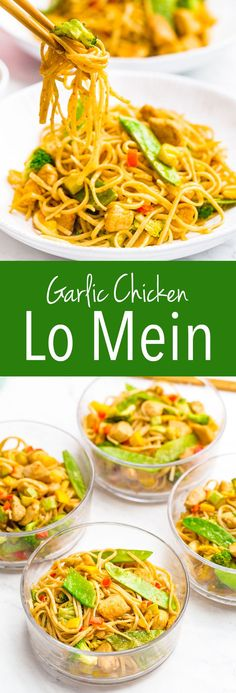 Garlic Chicken Lo Mein Garlic chicken Low Mein is an easy asian inspired meal Healthy Chinese Recipes, Asian Recipes, New Recipes, Cooking Recipes, Favorite Recipes, Oriental Recipes, Oriental Food, Dishes Recipes, Noodle Recipes