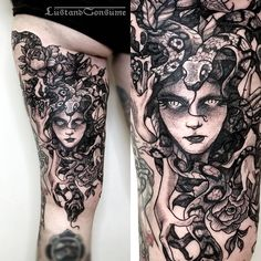 """☽ Phil Tworavens ☾ on Instagram: """"➕ Medusa for Vitriol, thank you for laying there like a boss! ➕ And she is a fellow artist, so check out her stuff y'all @vitrioltattoo Los Angeles, fully booked. Books are closed. _________________________________________________________ (Booking on December) Brooklyn, March - May Manchester, June Hamburg, end of June _____________________________________________________ #etching #fineline #engraving #linework #tattoos #tattoo #lineworker #blackwork"""