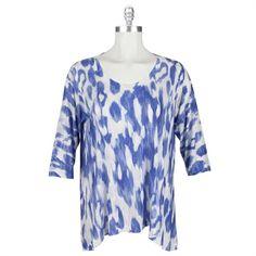Nally & Millie Plus Size Soft Sublimation Burnout Top #VonMaur #NallyAndMillie #Blue #Printed #FullFigured