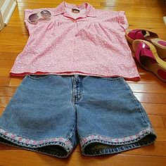 BUNDLE ..NICE SHORTS AND TOP These are shorts for the mature woman! Paired with a nice cool pink and white shirt.Pants 9-10 fits more like an 8, shirt M. Pants waist  14 1/2 inches, inseam 6 inches, hips 20 inches. This set is for the MATURE LADY! Jeans