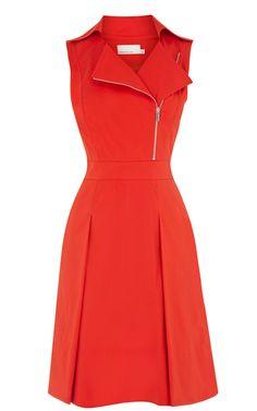 Red Lapel Sleeveless Zipper Ruffles Dress